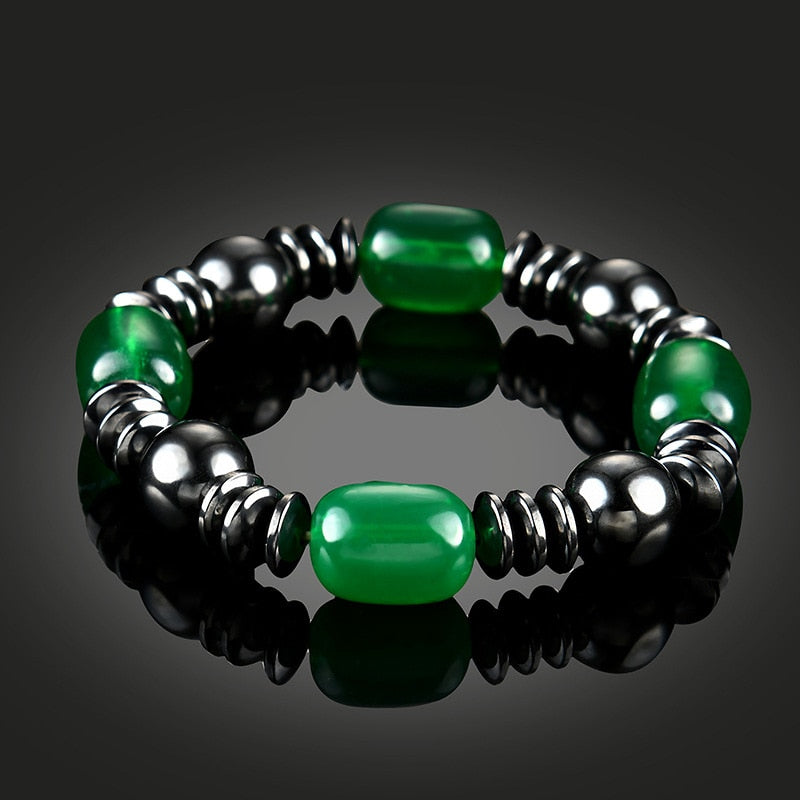 Magnetic Therapy Bracelet - Black and Emerald Green