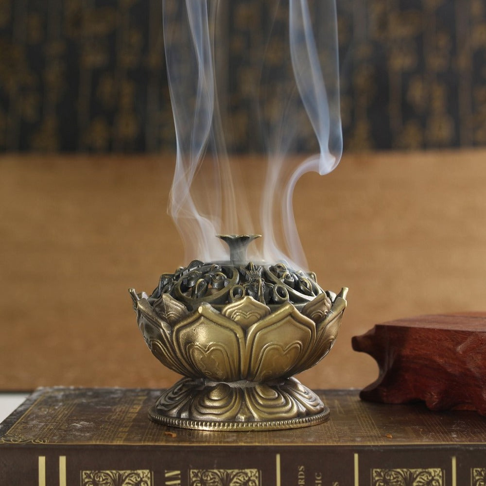 Df 6.  Buddha Alloy Incense Burner Lotus Flower Incense Holder Handmade