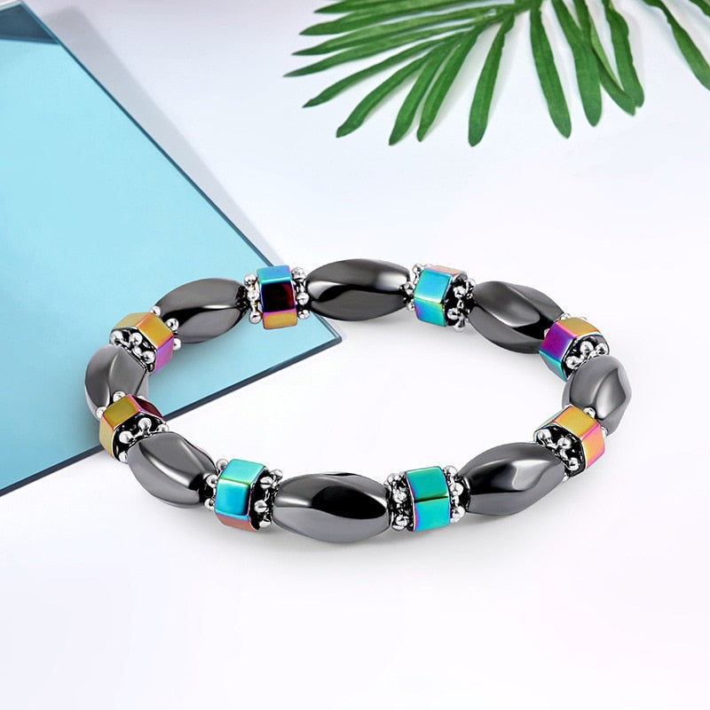 Magnetic Therapy Bracelet - Black, Ocean Blue and Tumeric Yellow