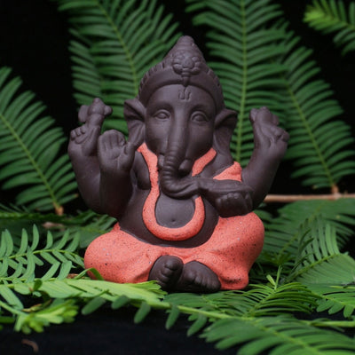 Buddha Statues in Ceramic with Elephant God Figurines