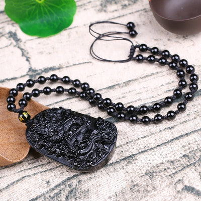 Chinese Dragon Obsidian Necklace - Courage and Endurance