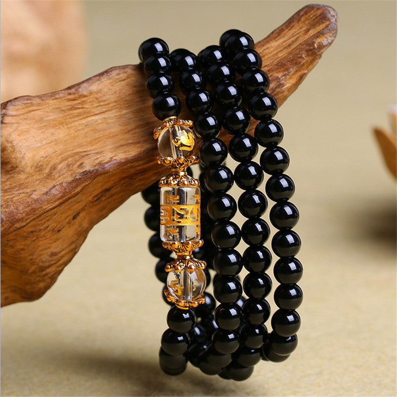 Natural Obsidian Zodiac Animal Buddha Wrap Bracelet