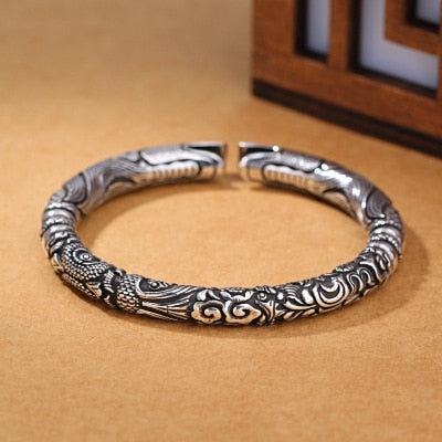 Double Dragon Head Bangles in Thai Silver - Fusion of Strength and Prosperity