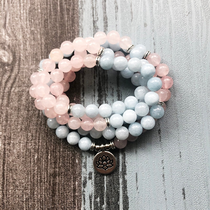 Aquamarine & Rose Quartz Healing Meditation Mala