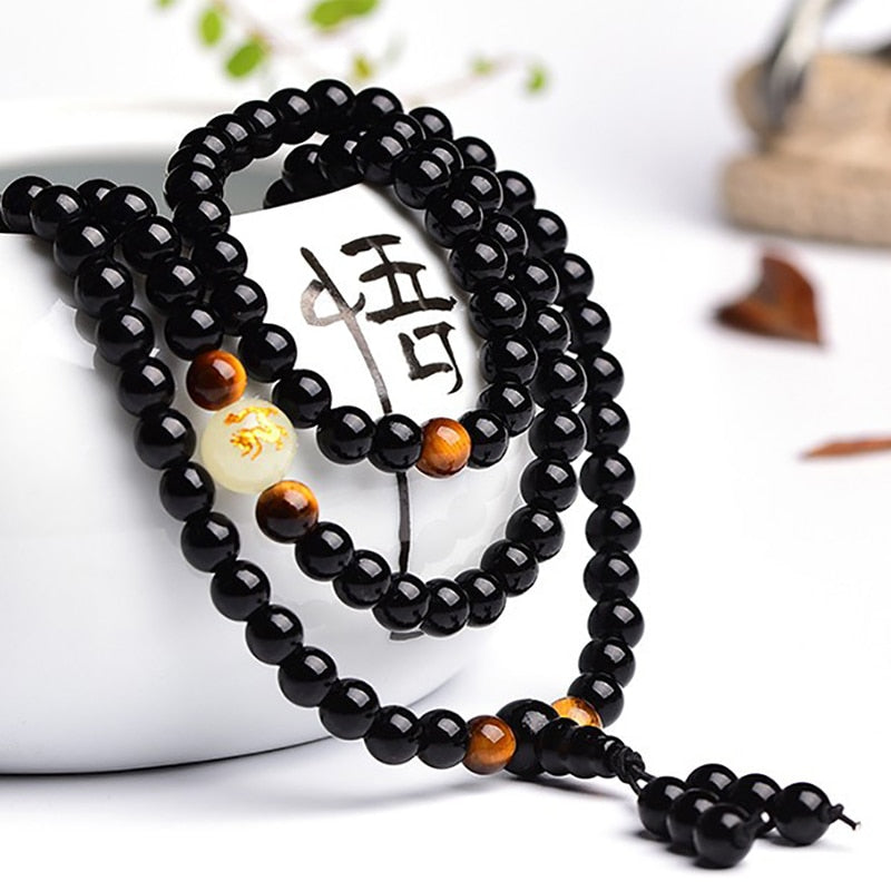 Dragon Black Obsidian 108 Bead Mala