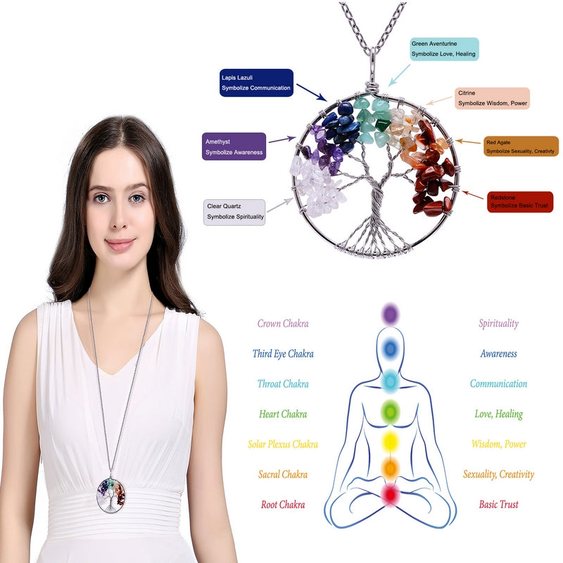7 Chakra Tree Of Life Pendant Necklace - 17 Eternity Colors