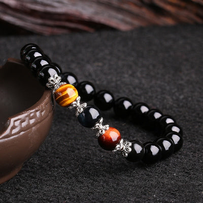 Obsidian Tiger Eye Stone Beaded Bracelet