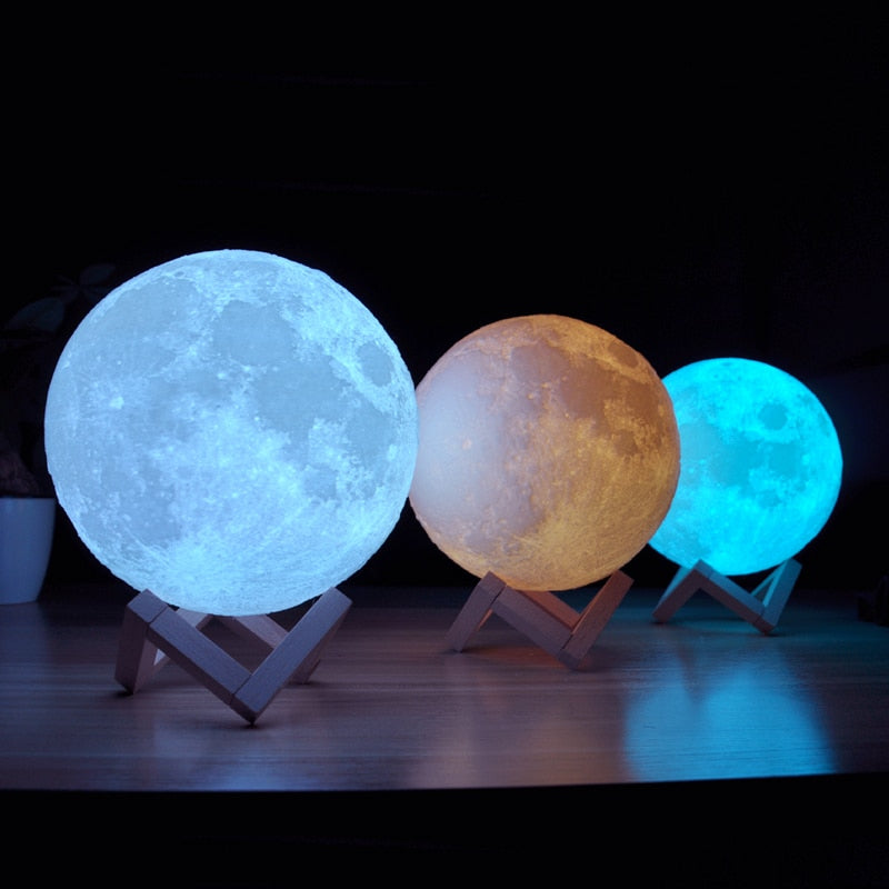3D Printing Moon Lamp - 16 Colors Emitting