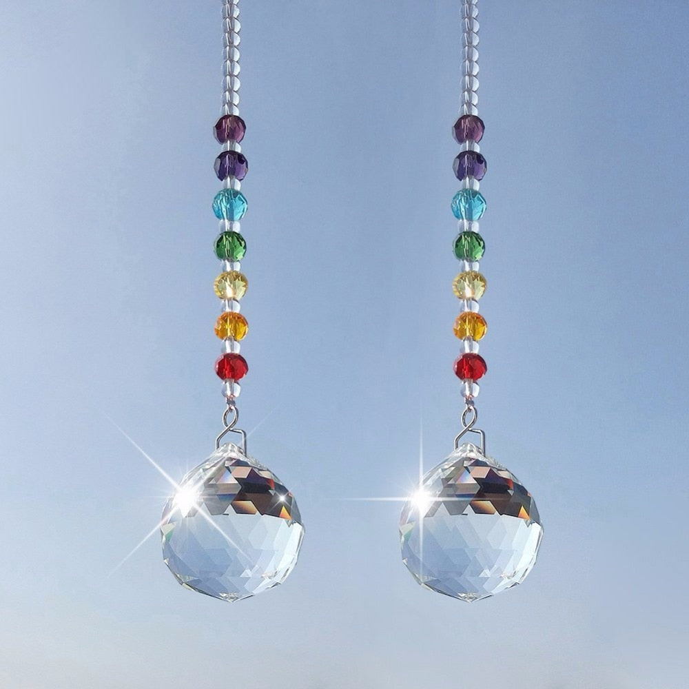 Crystal Prism Ball Chakra Rainbow Suncatcher - 2 Pieces Pack