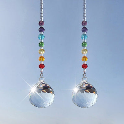 Df 96 Crystal Prism Ball Chakra Rainbow Suncatcher - 2 Pieces Pack