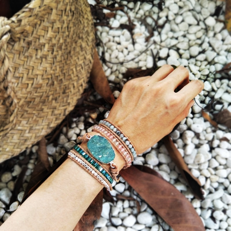 Rough Amazonite Wrap Bracelet