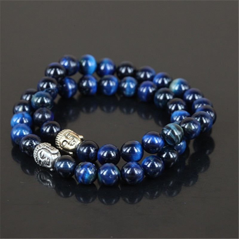 Natural Blue Tiger Eye Buddha Bracelet - 2 Pieces