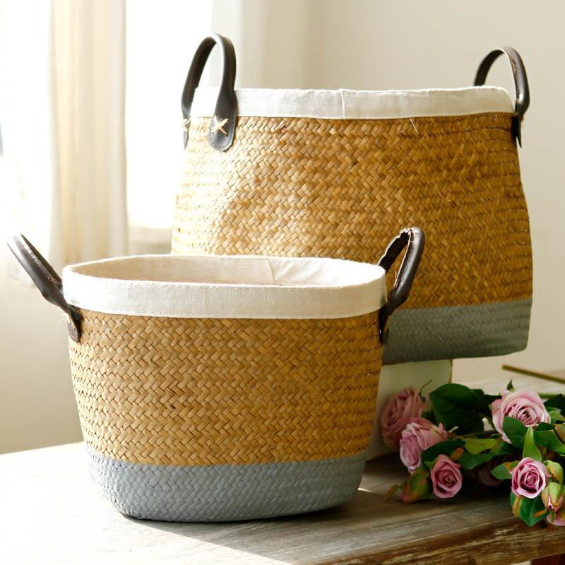 Df 122 Pastoral Handmade Seagrass Basket Painted Linen Edge