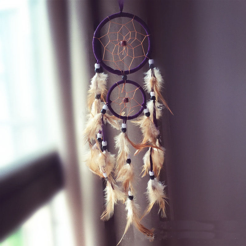 Df 107 Vintage retro feather dream catcher circular feathers