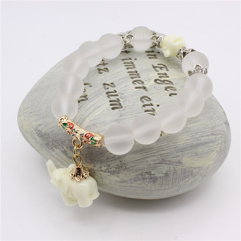 Natural Opal beads bracelets - Loving Elephant Charm