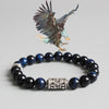 Blue Eagle Eye Beads Bracelet With Tibetan Buddhism Mantra Totem Charm