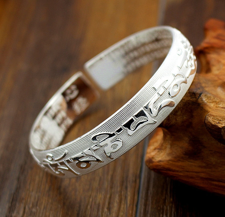 Elegant Tibetan Six True Mantra Words Silver Cuff