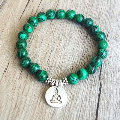 Green malachite stone beaded bracelet - Calm and Purity