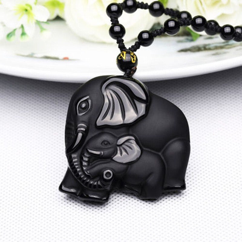 Obsidian Carved Mother & Baby Elephant Lucky Necklace