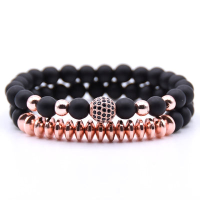 Elegant Matte Onyx Disco Ball Charm Bracelet - Set of 2 Pieces