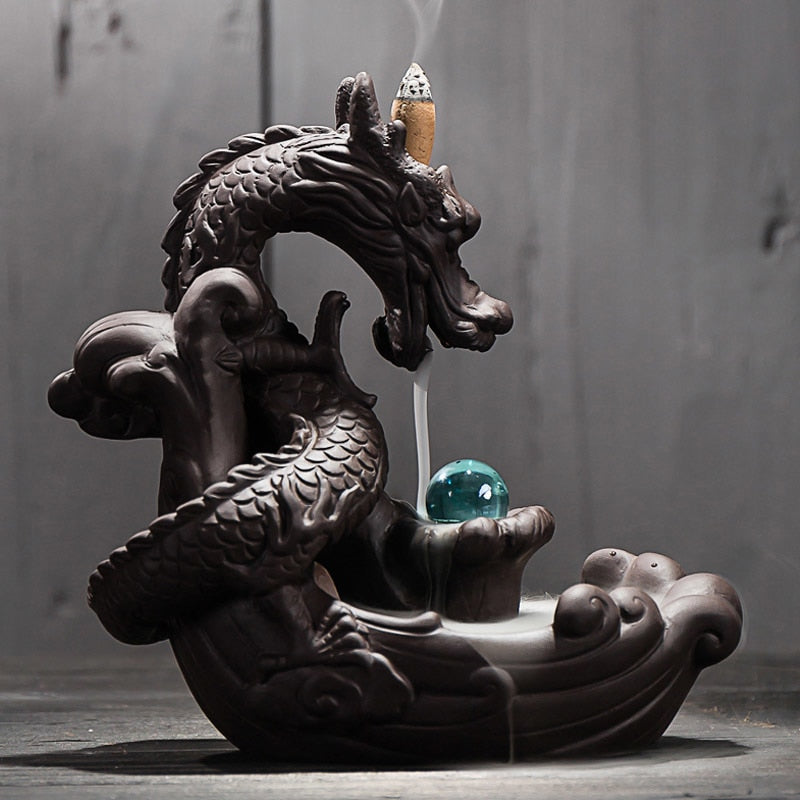 Ceramic Dragon Back-flow Incense Burner - 20 Incense Cones free gift