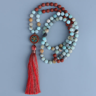 Buddha's Eyes Red Turquoise & Amazonite Mala Necklace