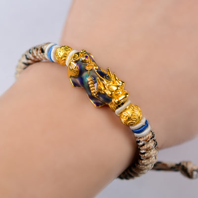 Df Gold Dragon Lucky Brave Bracelet - Stone color change with Temperature