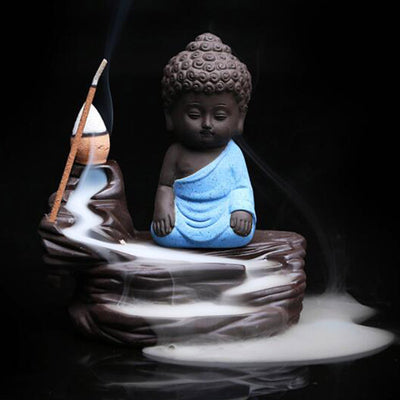Small Buddha Incense Holder & 20 Incense Cones Free Gift