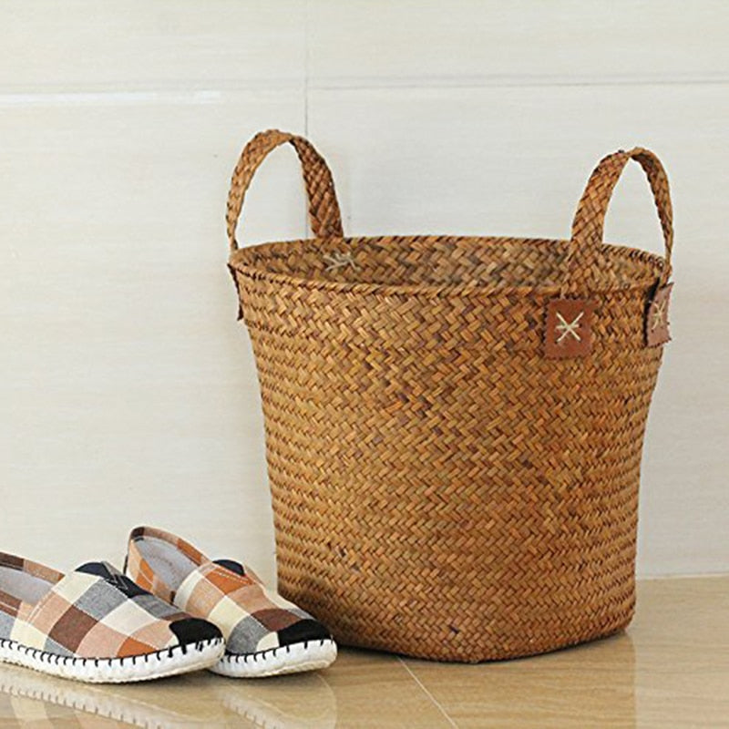 Df 126 Natural Round Straw Basket Handmade with Handgrip Orange
