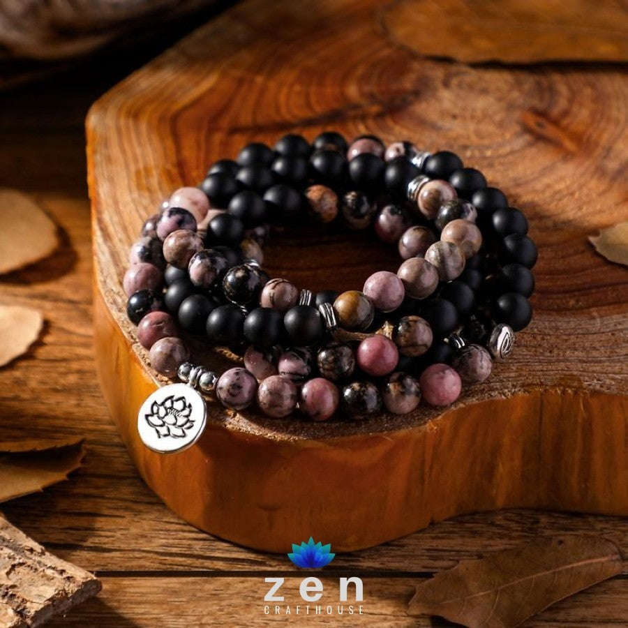 Charms Onyx & Rhodonite Mala | Confidence