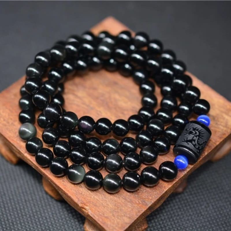 Black Obsidian 108 Rainbow Mala Bracelet - Phoenix and Dragon Charm