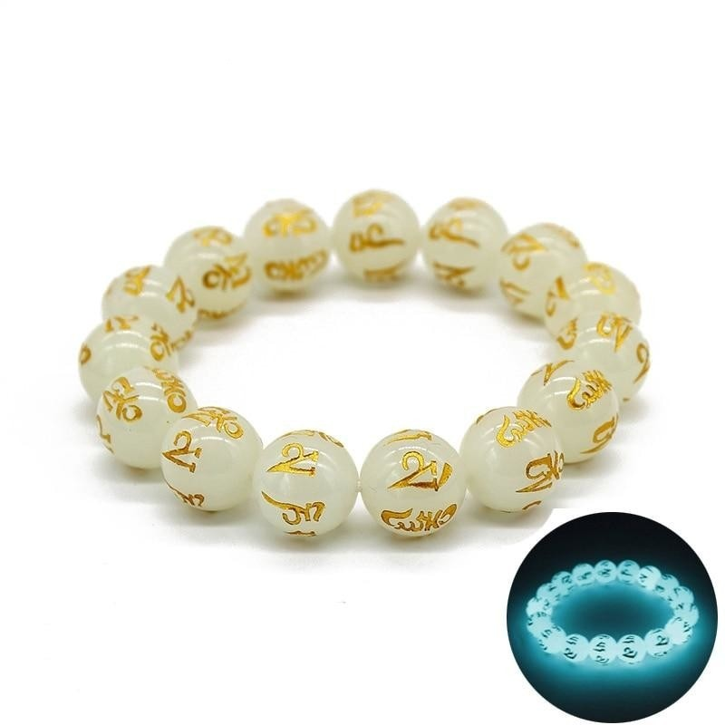 Luminous Gold Buddhist Words Carved Bracelets - Creativity and Growth.
