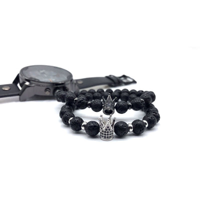 Black Lava Stone Crown Bracelet