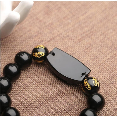 Natural Black Obsidian Carved Buddha Bracelet - Clarity and Protection