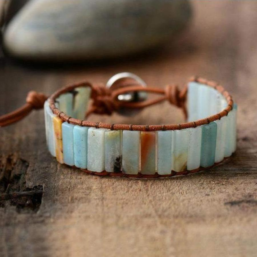 Vintage Amazonite Single Leather Wrap Bracelet