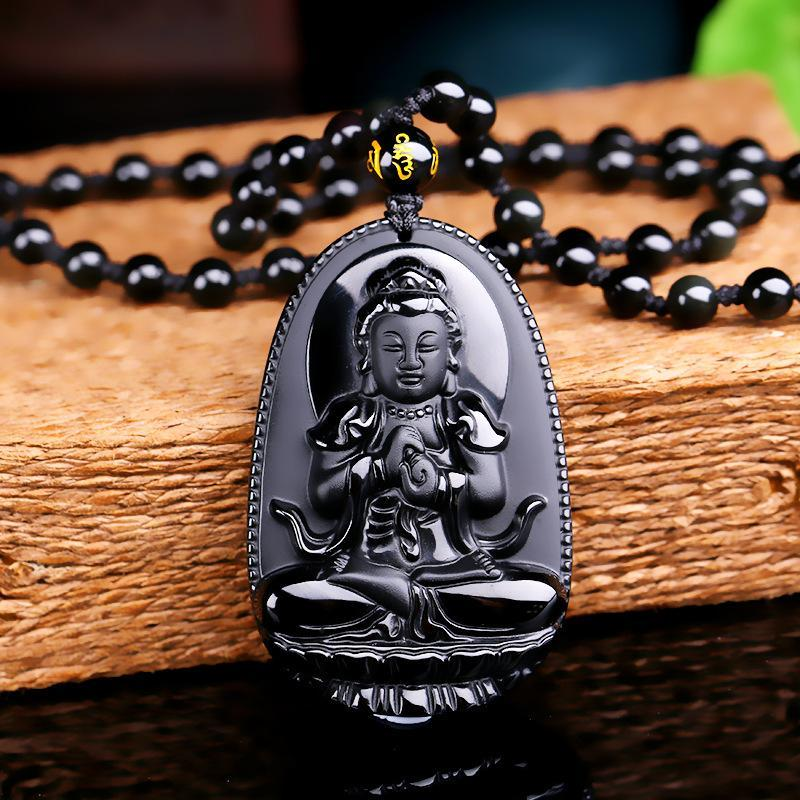 Obsidian Buddha Focus Pendant Necklace