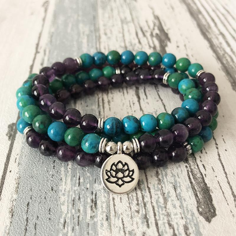 Healing charms Chrysocolla and Amethyst 108 beads Mala