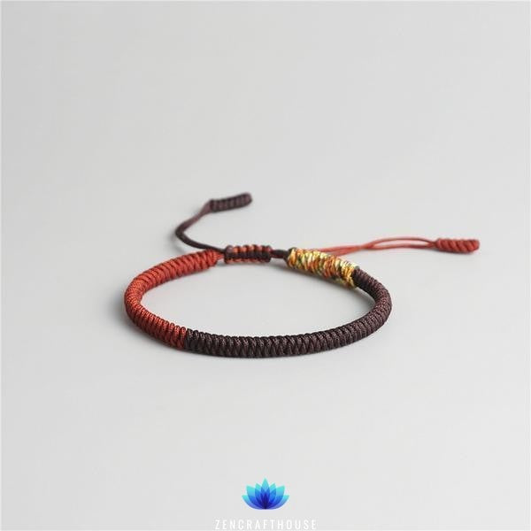 Tibetan Handmade Lucky Bracelet - Red-Brown-Multi Golden