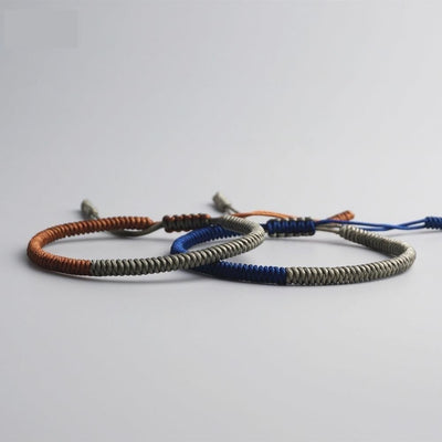 Bicolor Tibetan Handmade Lucky Bracelet - 2 pieces Blue, Silver and Copper