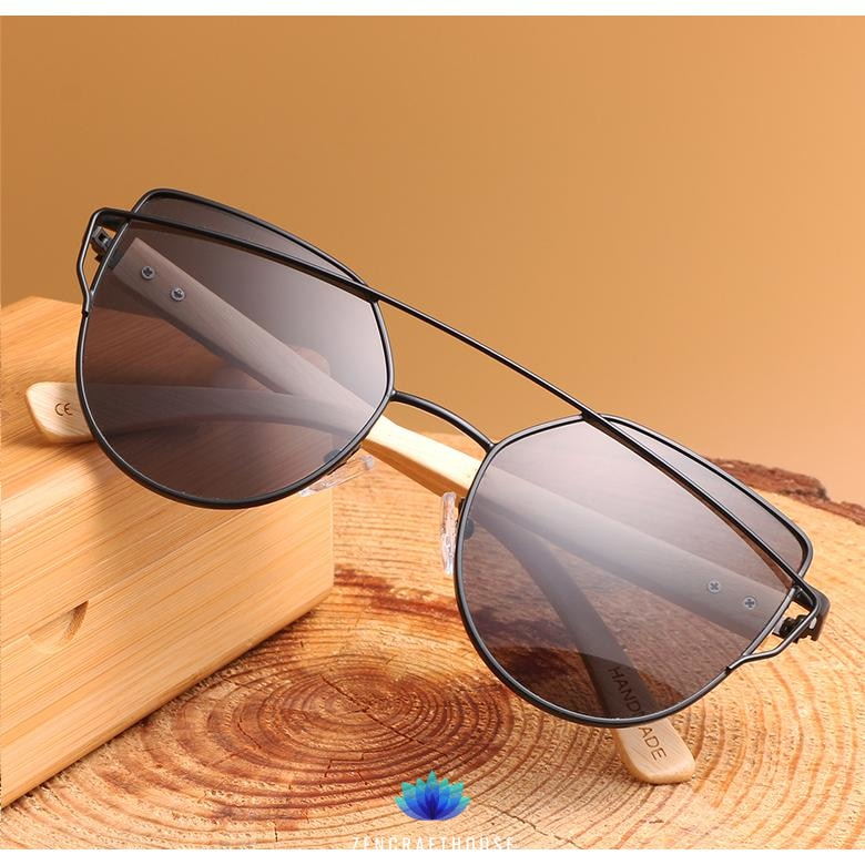 Df 144 Cat Eye sunglasses women wood Bamboo