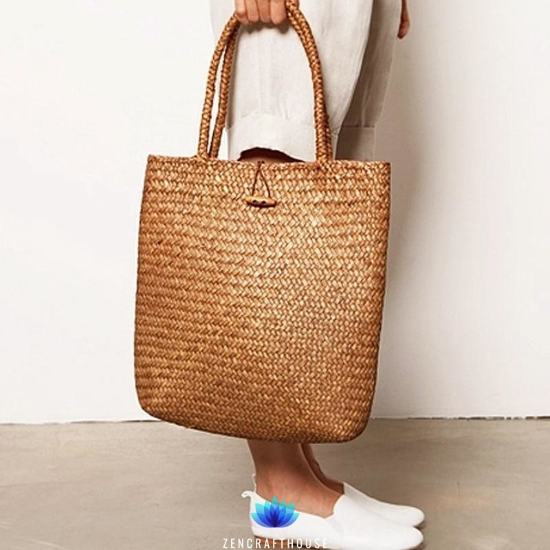Df 130 Rattan Grass Shoulder Bags Straw with Button