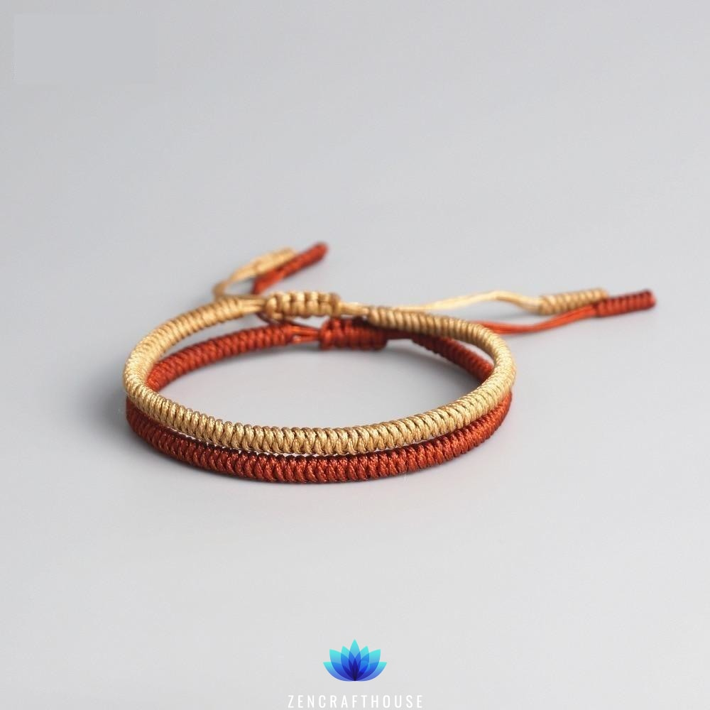 Tibetan Handmade Lucky Bracelet - 2 pieces Gold and Red