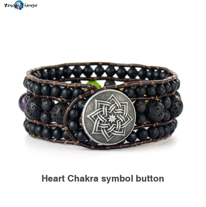 7 Chakra Leather Wrap Bracelet