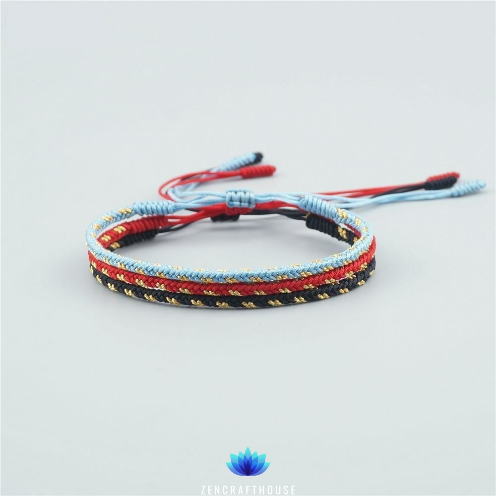 Tibetan Handmade Lucky Bracelet - Multi-color Set Light Blue, Red and Black