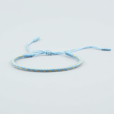 Triple-layer Tibetan Handmade Lucky Bracelet - Light Blue, Red and Black