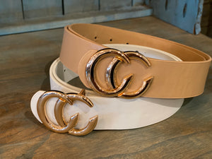 Double CC Faux Leather Buckle Belt