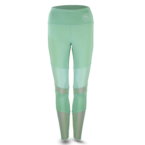 "***New On-Trend Sage Leggings with ""Leather-Look"" and Mesh Inserts"
