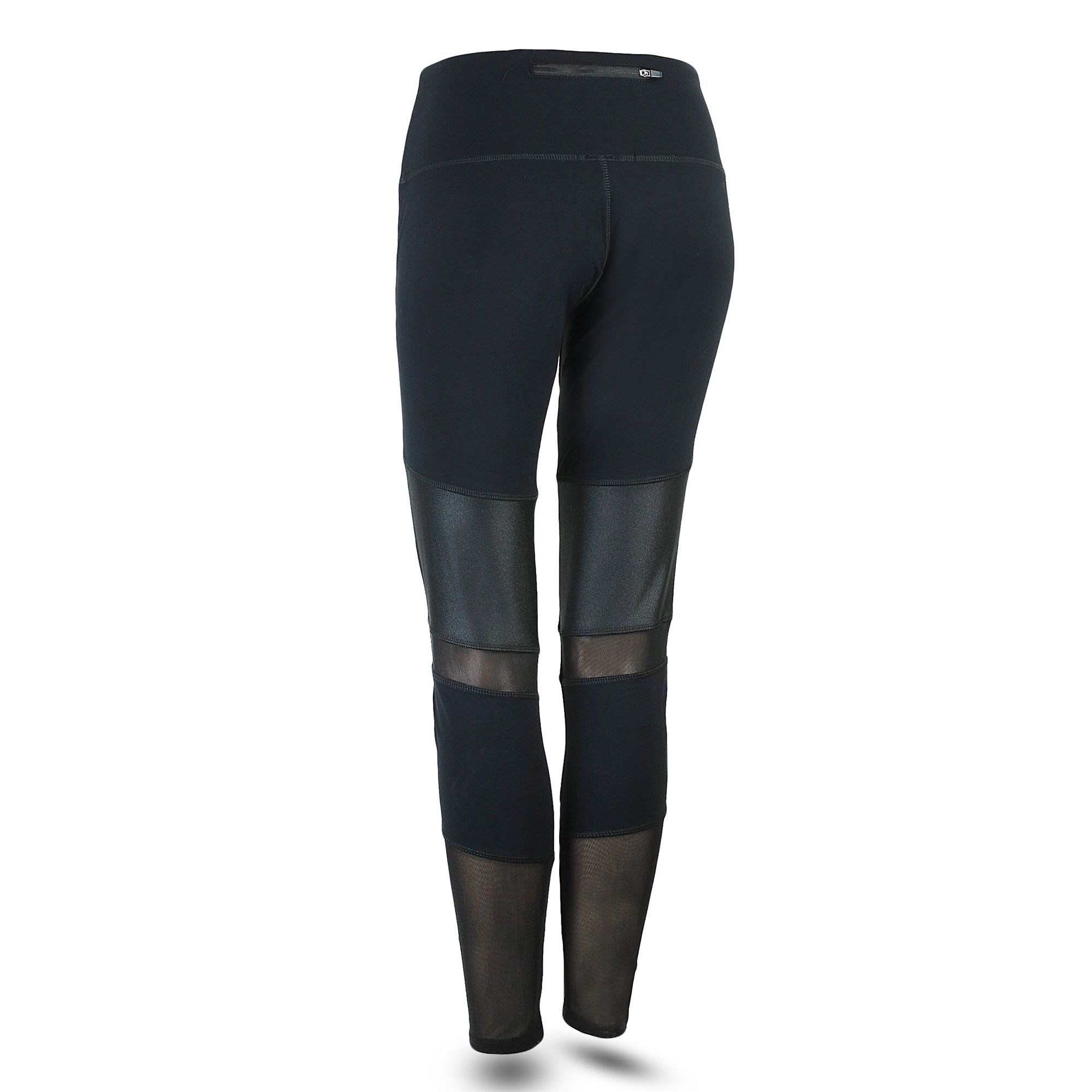***NEW*** ON-TREND BLACK LEGGINGS - WITH LEATHER-LOOK AND MESH INSERTS