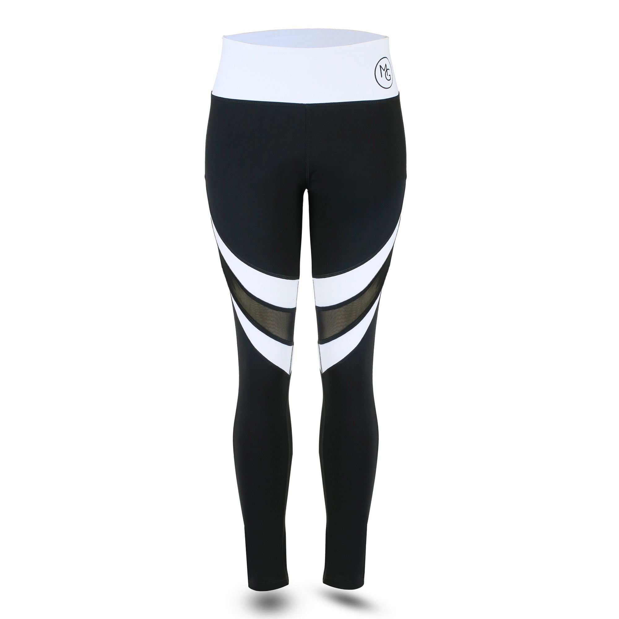 *** Plus Size - High-Performance Black and White leggings, with Mesh insert