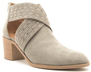 Khaki Suede Criss-Cross open Shank Booties